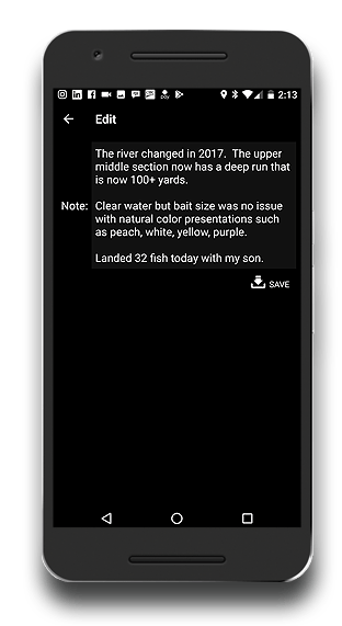 fishing app fish record notes