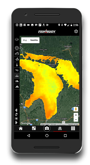 fishing app fishbuoy great lakes surface water temperature