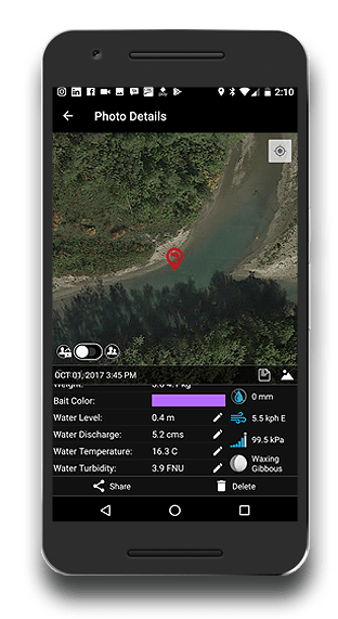 Fishing App - FISHBUOY Pro Photo Details - Map