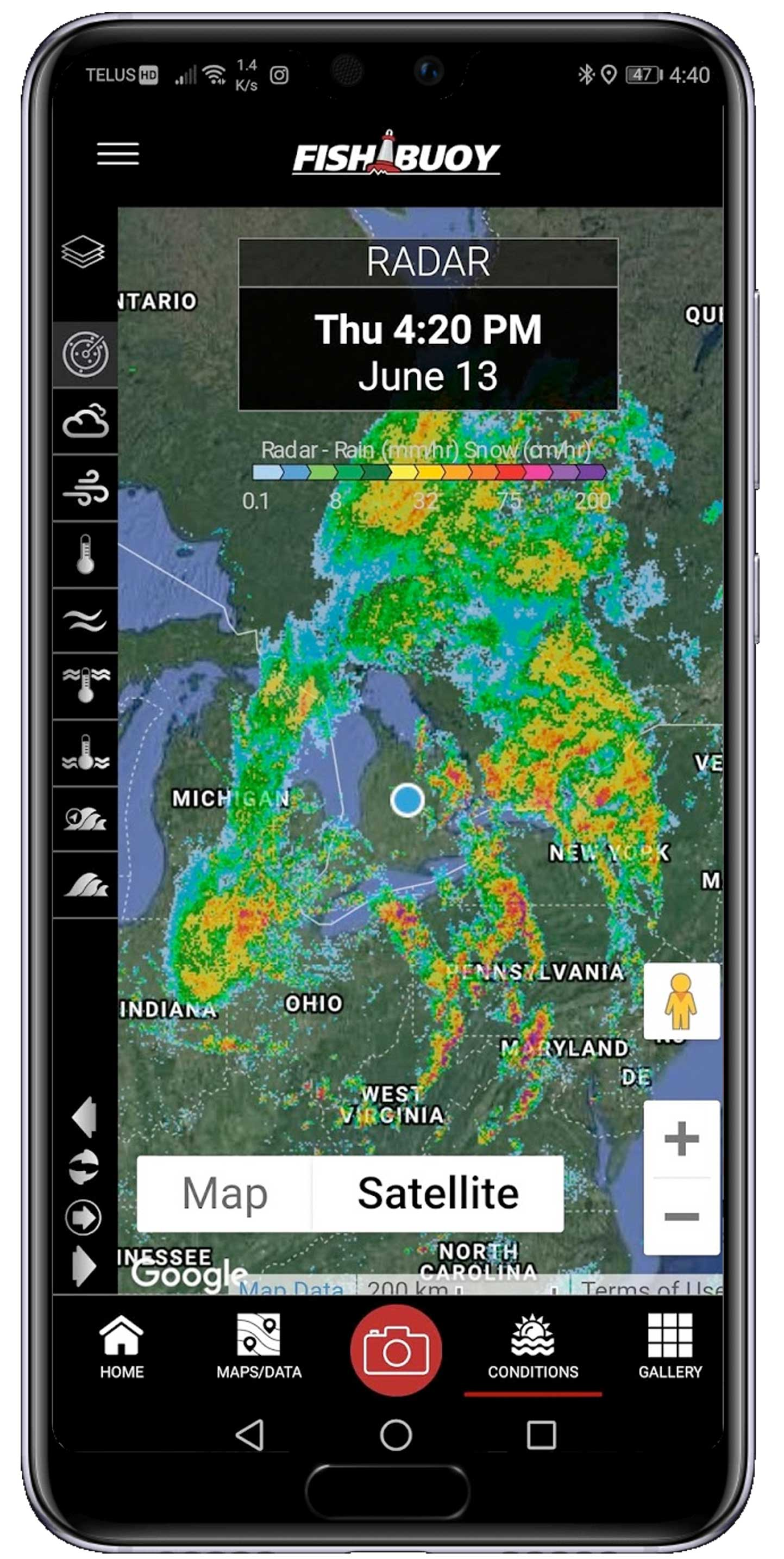 Real-Time Weather Data for Anglers